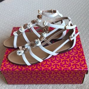 TORY BURCH FLORA STRAPPY SANDALS 8